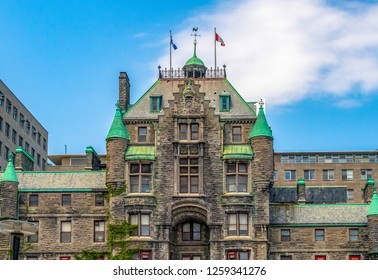 Montreal, Canada-September 6, 2018: Royal Victoria Hospital revitalized by McGill University. The health institution is located in one of the oldest buildings in the city