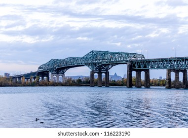 Montreal Champlain Bridge above St. Lawrence River early in the morning (2)
