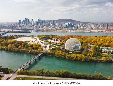 Montreal city in Canada autumn season colourful threes