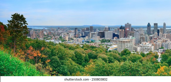 Montreal day view panorama from Mont Royal with city skyline