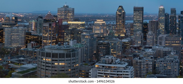Montreal downtown, early evening. Photographed from Mont Royal.