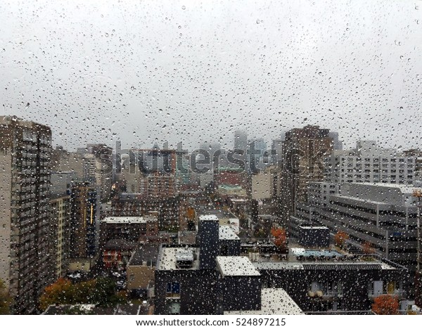 Montreal downtown on a rainy day