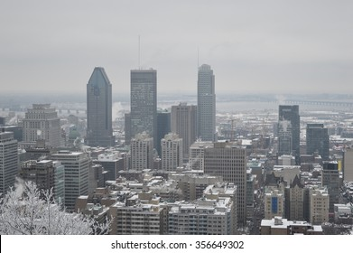 Montreal downtown in snow