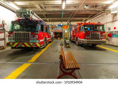 Montreal Fire Department trucks in Montreal Canada on September 18th 2018