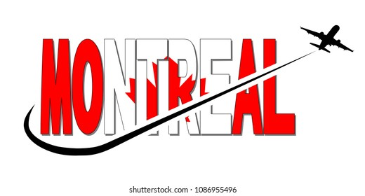 Montreal flag text with plane silhouette and swoosh illustration