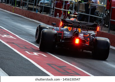 Montreal Friday June 7, 2019. Red Bull F1 pilot (33) Max Verstappen driving the RB15 away from the team garage during P1 at Circuit Gilles Villeneuve, Canada.