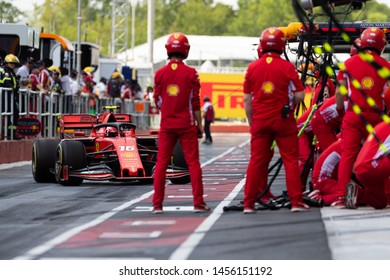 Montreal Friday June 7, 2019. Pit stop for the Scuderia Ferrari crew and F1 pilot Charles Leclerc (16) of Monte Carlo during P1 at Circuit Gilles Villeneuve, Canada.