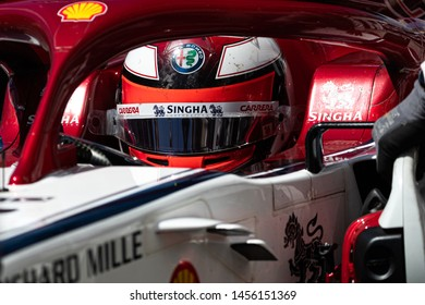 Montreal Friday June 7, 2019. Alfa Romeo F1 pilot (7) Kimi Raikkonen of Finland driving the C38 back to the team garage during P1 at Circuit Gilles Villeneuve