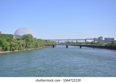 MONTREAL - JUN 8, 2012: Montreal Biosphere was built to display Canadian St. Lawrence Seaway river system on Saint Helens Island in Montreal, Quebec, Canada.