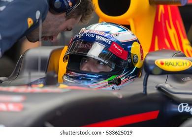 Montreal June 10, 2016. Australian pilot Daniel Ricciardo sitting in his car inside the Red Bull F1 team's garage as he prepares for practice session at the Canadian Formula 1 Grand Prix.