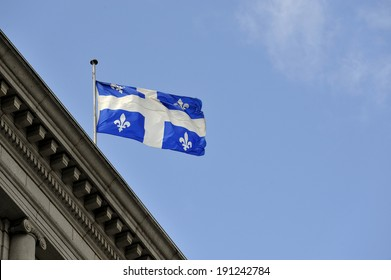 MONTREAL - JUNE 26: A Quebec flying flag is photographed on June 26, 2013 in Montreal, Quebec, Canada.