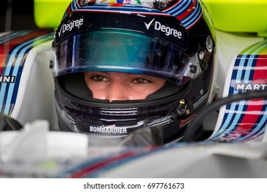 Montreal, June 7 2017. F1 rookie pilot Lance Stroll (CAN) sits inside the Williams FW40 in the team garage agead of P2 during the Formula 1 Canadian GP weekend, Canada