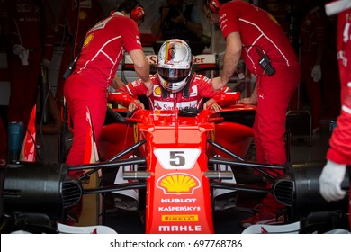 Montreal, June 7 2017. F1 pilot Sebastian Vettel (GER) stepping inside the Ferrari ahead of P2 at Circuit Gilles Villeneuve during the Formula 1 Canadian GP weekend, Canada.
