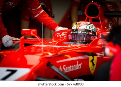 Montreal, June 7 2017. Ferrari F1 pilot Kimi Raikkonnen (FIN) stands by in the SF70H ahead of practice session during the Formula 1 Canadian GP weekend, Canada.