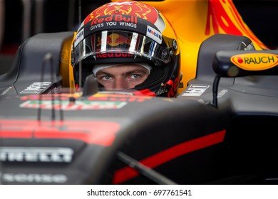 Montreal, June 7 2017. Red Bull F1 pilot Max Verstappen (NED) getting ready inside the RB13 car during the Formula 1 Canadian GP weekend, Canada
