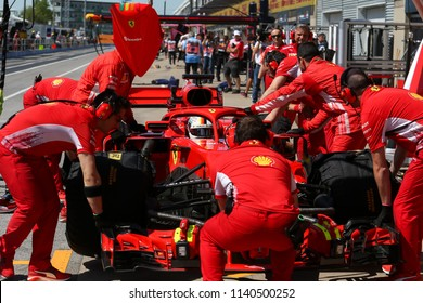 Montreal June 8 2018. F1 pilot Sebastian Vettel (5) of Germany returns the Ferrari SF71H to the team's garage after P2 at the Formula 1 Canadian Grand Prix.