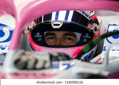 Montreal June 8 2018. Inside the team's garage, Force India pilot Sergio Perez (11) of Mexico sitting inside the VJM11 car ahead of P2 at the Formula 1 Canadian Grand Prix.