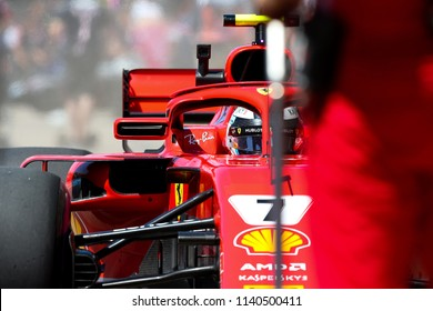 Montreal June 8 2018. Kimi Raikkonen (7) of Finland makes a pit stop with the Ferrari SF71H during P2 at the Formula 1 Canadian GP
