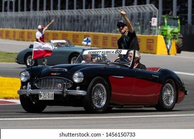 Montreal June 9, 2019. Williams F1 pilot (88) Robert Kubica of Polland, waving at the crowd during the drivers parade at Circuit Gilles Villeneuve, Canada.