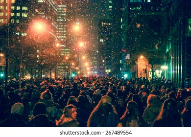 MONTREAL - MARCH 26: Thousands of demonstrators fill the streets of Montreal at an evening protest as 55,000 students are on strike in Quebec.