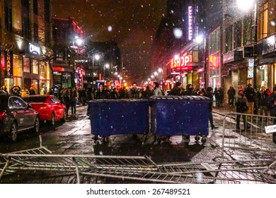 MONTREAL - MARCH 27: Barricades are erected on a street in Montreal's shopping district during an aggressive student protest.