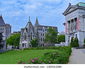 MONTREAL - MAY 2015:  McGill University downtown campus includes old gothic stone buildings and a museum of natural history.