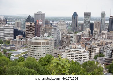 MONTREAL - MAY 26, 2016: View of downtown Montreal from the top of Mont Royal Park.