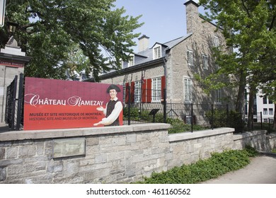 MONTREAL - MAY 27, 2016: The Chateau Ramezay is a museum and historic building on Notre-Dame Street in Old Montreal, opposite Montreal City Hall in Montreal, Quebec, Canada.
