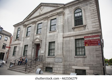 MONTREAL - MAY 27, 2016: The old Custom House, now part of Museum of Archaeology and History, was built in 1836, to keep pace with the expanding Port.