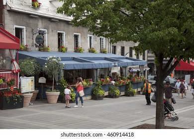MONTREAL - MAY 27, 2016: Place Jacques Cartier is a square located in Old Montreal in Montreal, Quebec, Canada, and an entrance to the Old Port of Montreal.