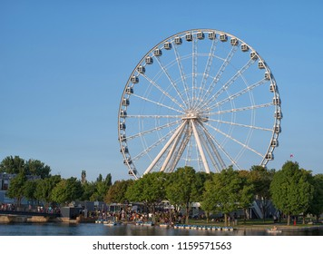 Montreal Oberservation Wheel in Old Montreal during a summer day