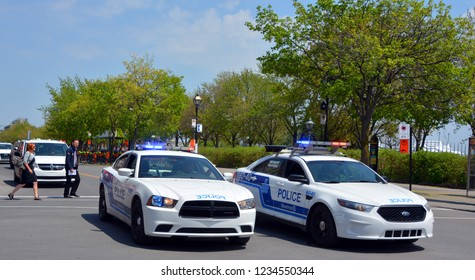 MONTREAL OC CANADA 05 19 2017: Car of Service de police de la Ville de Montreal (SPVM) (French for Montreal Police Service) is the police force for the city of Montreal and the neighboring communities