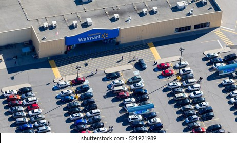 Montreal, October 15, 2016. Aerial view of a Walmart superstore in Kirkland in the Montreal aerea. Walmart operates 400 locations with 95 000 employees in Canada.