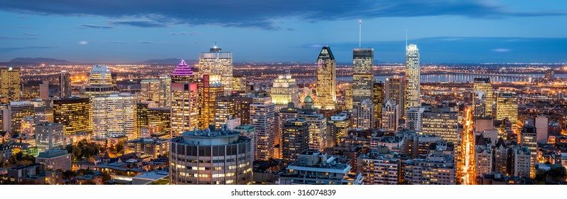 Montreal panorama at dusk as viewed from the Mount Royal overlook