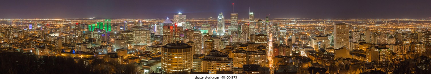 Montreal panorama skyline at night. View from Mount-Royal. Canada.