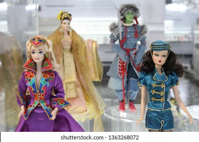 Montreal, QC / Canada - April 7 2019: collectible Barbie dolls at Barbie Expo in Cours Mont Royal, downtown. One of the largest Barbie museums / exhibitions in the world.