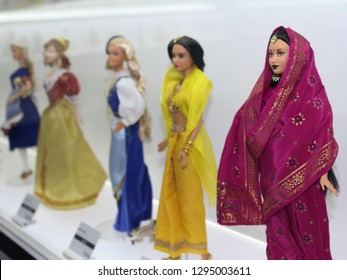 Montreal, QC / Canada - January 23 2019: Barbie dolls in national clothes are shown at the Barbie Expo in Les Cours Mont Royal. Barbie has her 60 Anniversary in March 2019.