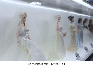 Montreal, QC / Canada - January 23 2019: Barbie dolls in wedding gowns are shown at the Barbie Expo in Les Cours Mont Royal. Barbie has her 60 Anniversary in March 2019.