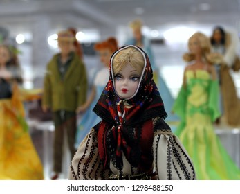 Montreal, QC / Canada - January 23 2019: a Russian-style matrioshka Barbie doll at the Barbie expo in Cours Mont Royal. Barbie has her 60  anniversary in March 2019.