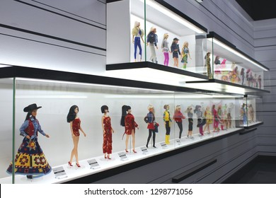 Montreal QC / Canada - January 23 2019: Barbie dolls in national costumes and fashionable dresses at Barbie Expo, Cours Mont Royal. Barbie has 60 Anniversary in March 2019, it's a cult toy.