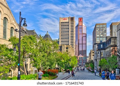Montreal, QC, Canada - September 2017 : Historical center in sunny weather, HDR Image