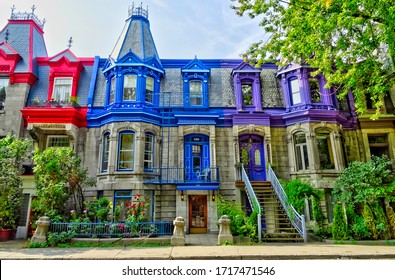 Montreal, QC, Canada - September 2017 : Traditional architecture in the Plateau district, HDR Image