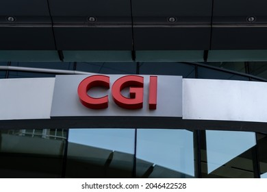 Montreal, QC, Canada - September 4, 2021: CGI sign at their headquarters in Montreal. CGI Group Inc. is a Canadian multinational information technology consulting and systems integration company.