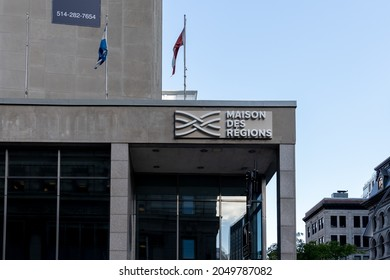 Montreal, QC, Canada - September 4, 2021: Close up of Maison des Régions sign on the building in Montreal, QC, Canada. Maison des Régions is a meeting place in Montreal.