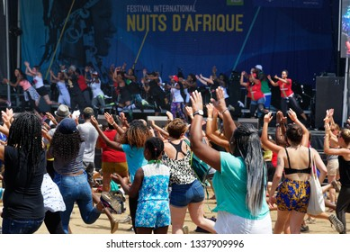 MONTREAL QC/CANADA JULY 21 2018 People dancing at the Festival Nuits D'Afrique in Montreal