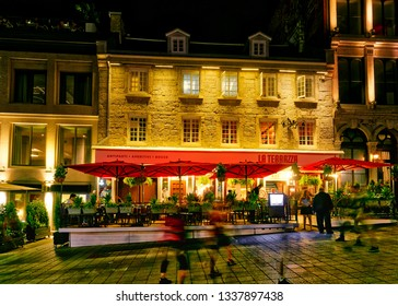MONTREAL QC/CANADA JULY 22 2018 Nightlife in the summer on Place Jacques Cartier in Montreal's Old Port district