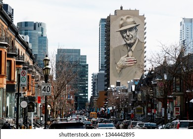 MONTREAL QC/CANADA MARCH 17 2018 A portrait of Leonard Cohen painted onto the side of a building in Montreal, Quebec, Canada