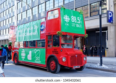 MONTREAL QC/CANADA MARCH 18 2018 A Routemaster red double decker bus in Montreal in the St Patrick's Day parade