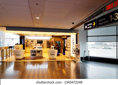 MONTREAL QC/CANADA MARCH 27 2018 Apple iStore at Montreal Trudeau airport
