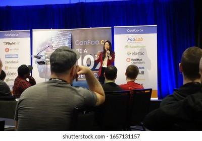 Montreal, Quebec - 26 February 2020 : Picture from the opening keynote of the 2020 edition of ConFoo